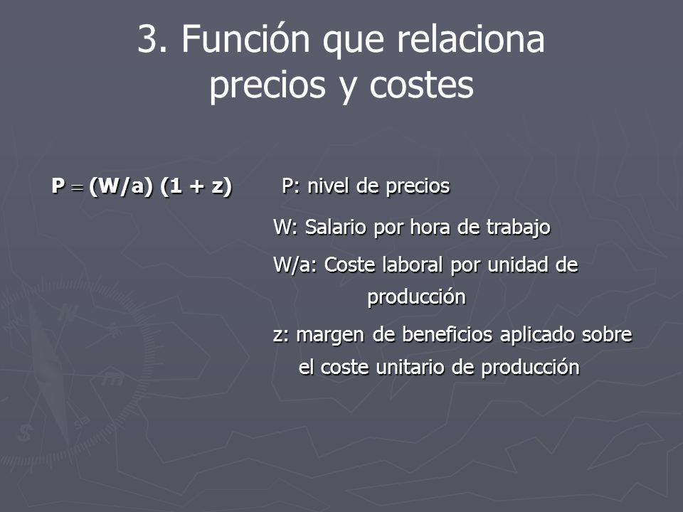 3. Función que relaciona precios y costes