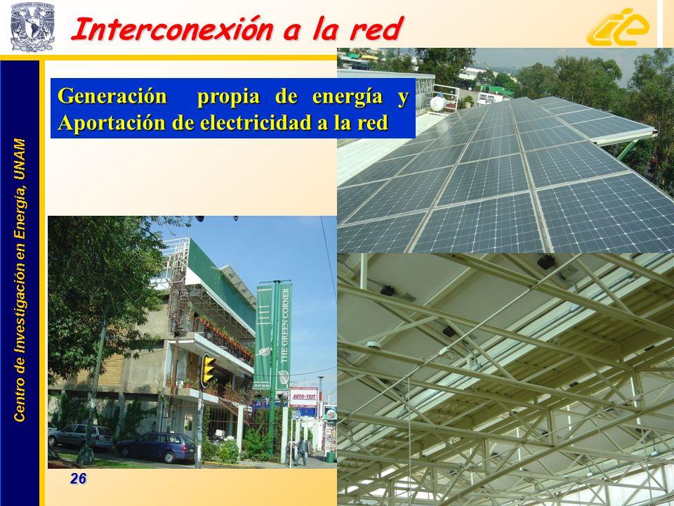 Interconexión a la red Generación propia de energía y Aportación de electricidad a la red.