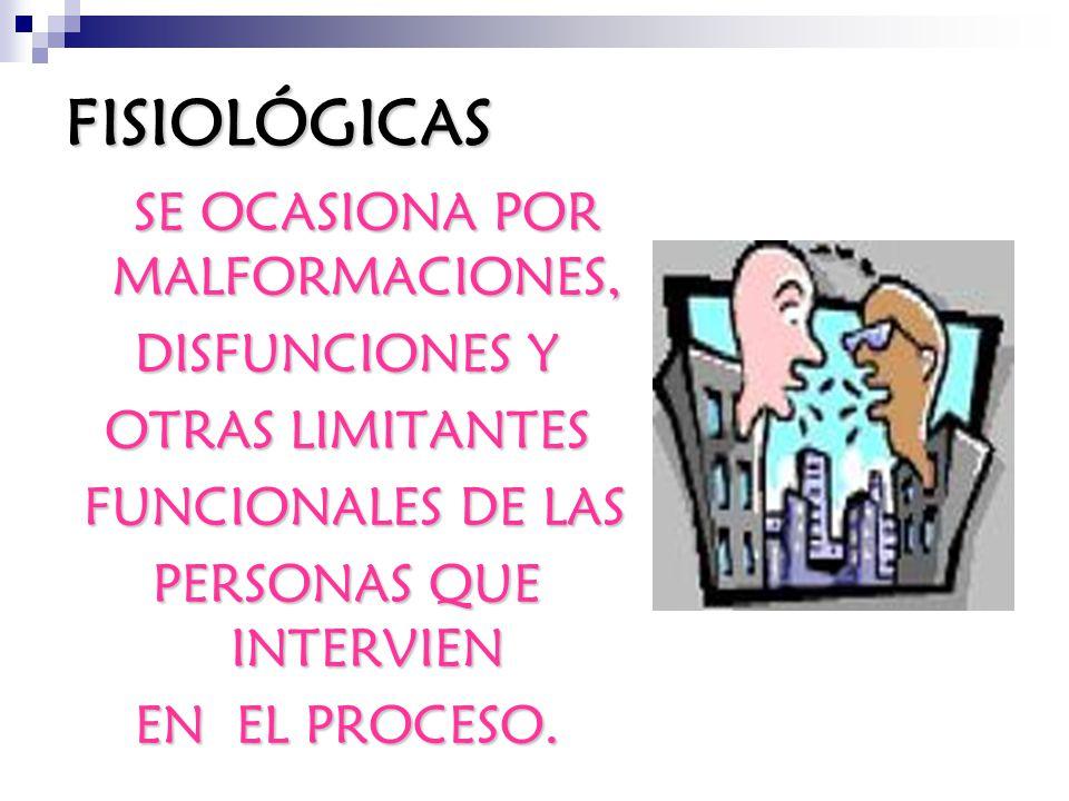 FISIOLÓGICAS DISFUNCIONES Y OTRAS LIMITANTES FUNCIONALES DE LAS