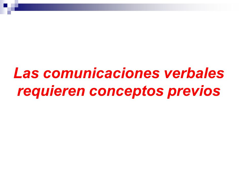 Las comunicaciones verbales requieren conceptos previos