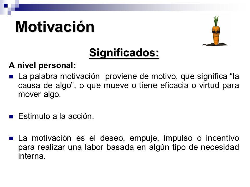 Motivación Significados: A nivel personal: