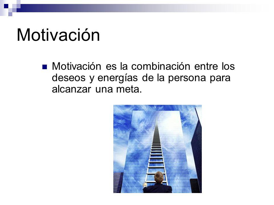 Motivación Motivación es la combinación entre los deseos y energías de la persona para alcanzar una meta.