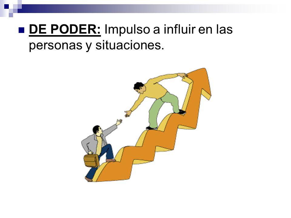 DE PODER: Impulso a influir en las personas y situaciones.