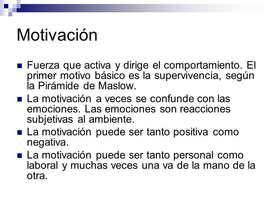 Motivación Fuerza que activa y dirige el comportamiento. El primer motivo básico es la supervivencia, según la Pirámide de Maslow.
