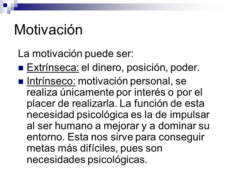 Motivación La motivación puede ser: