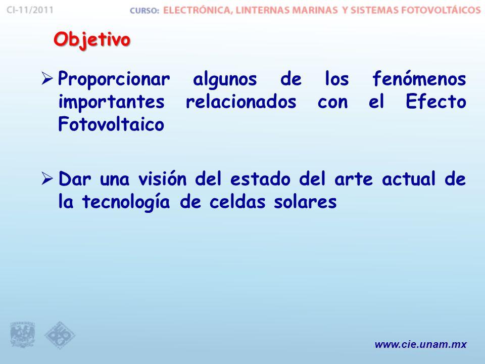 Objetivo Proporcionar algunos de los fenómenos importantes relacionados con el Efecto Fotovoltaico.