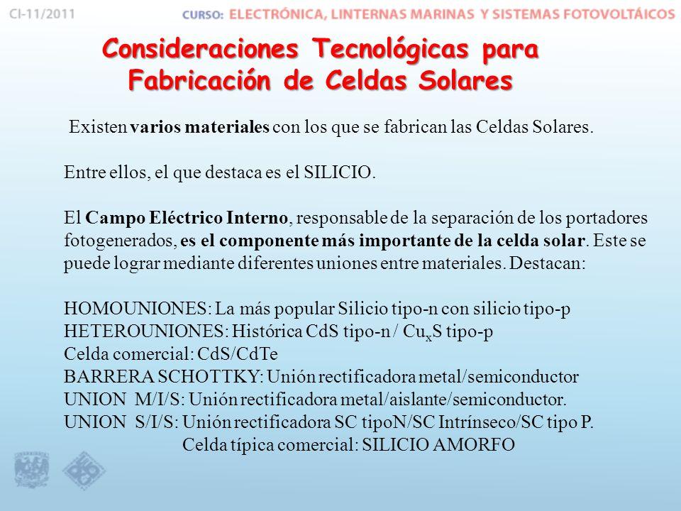 Consideraciones Tecnológicas para Fabricación de Celdas Solares