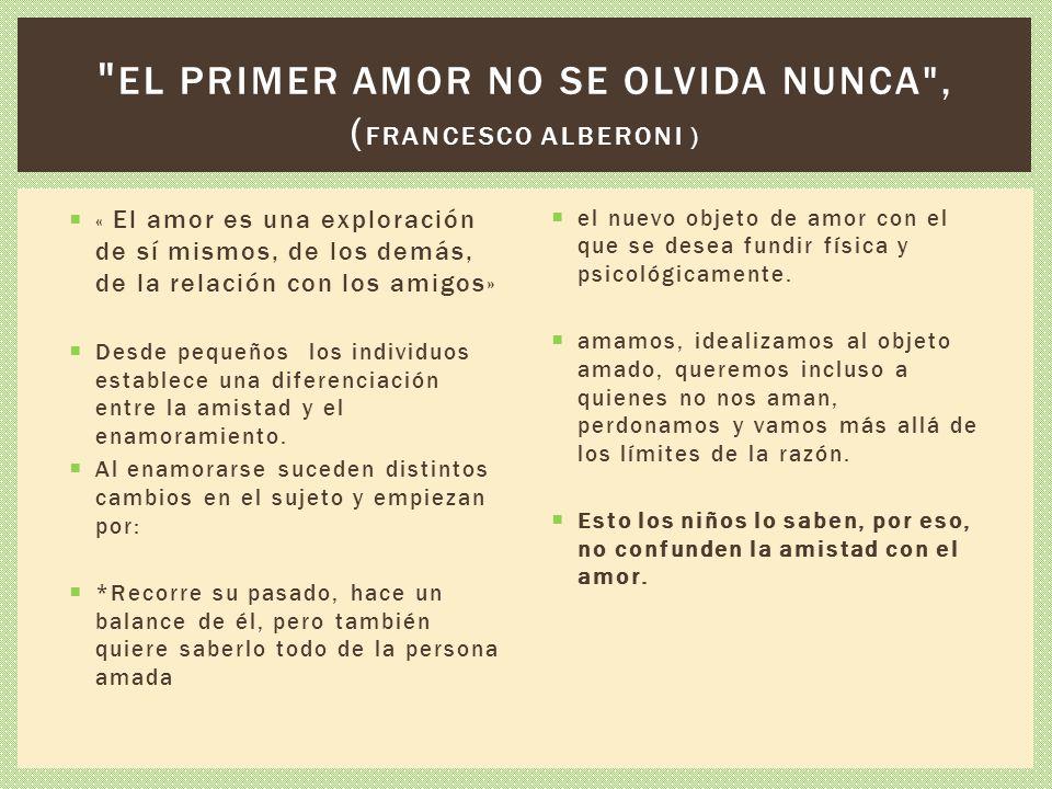 el primer amor no se olvida nunca , (Francesco Alberoni )