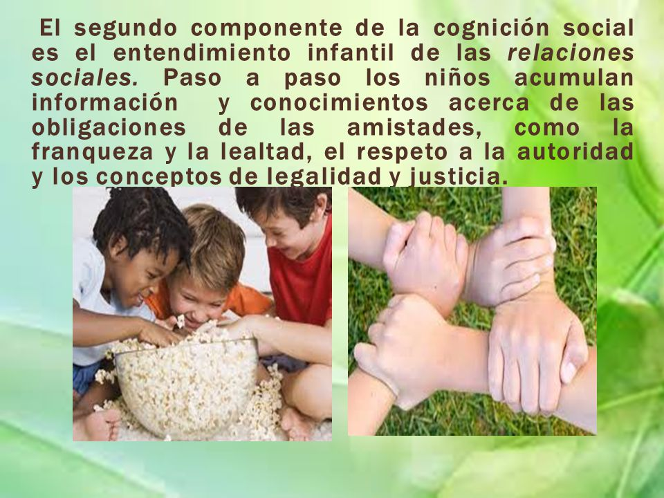 El segundo componente de la cognición social es el entendimiento infantil de las relaciones sociales.