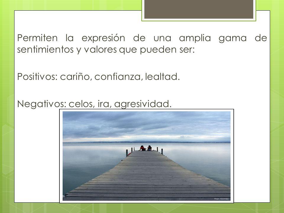Permiten la expresión de una amplia gama de sentimientos y valores que pueden ser: Positivos: cariño, confianza, lealtad.