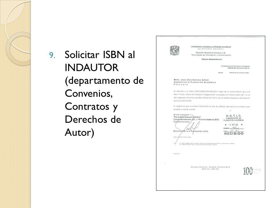 Solicitar ISBN al INDAUTOR (departamento de Convenios, Contratos y Derechos de Autor)