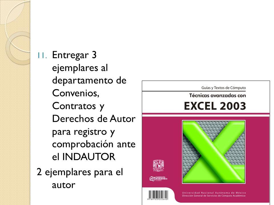 Entregar 3 ejemplares al departamento de Convenios, Contratos y Derechos de Autor para registro y comprobación ante el INDAUTOR