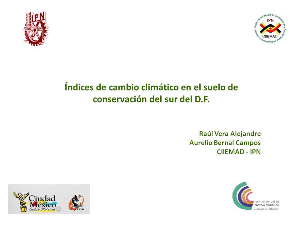 Índices de cambio climático en el suelo de conservación del sur del D