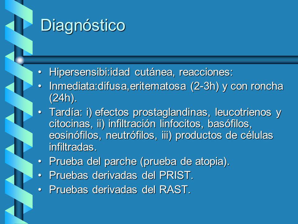 Diagnóstico Hipersensibi:idad cutánea, reacciones: