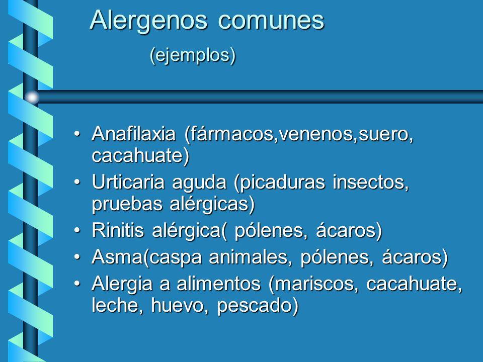 Alergenos comunes (ejemplos)