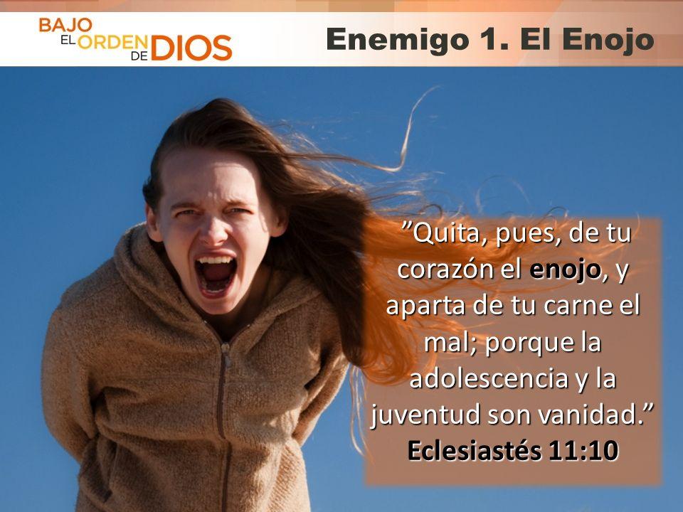 Enemigo 1. El Enojo Quita, pues, de tu corazón el enojo, y aparta de tu carne el mal; porque la adolescencia y la juventud son vanidad.