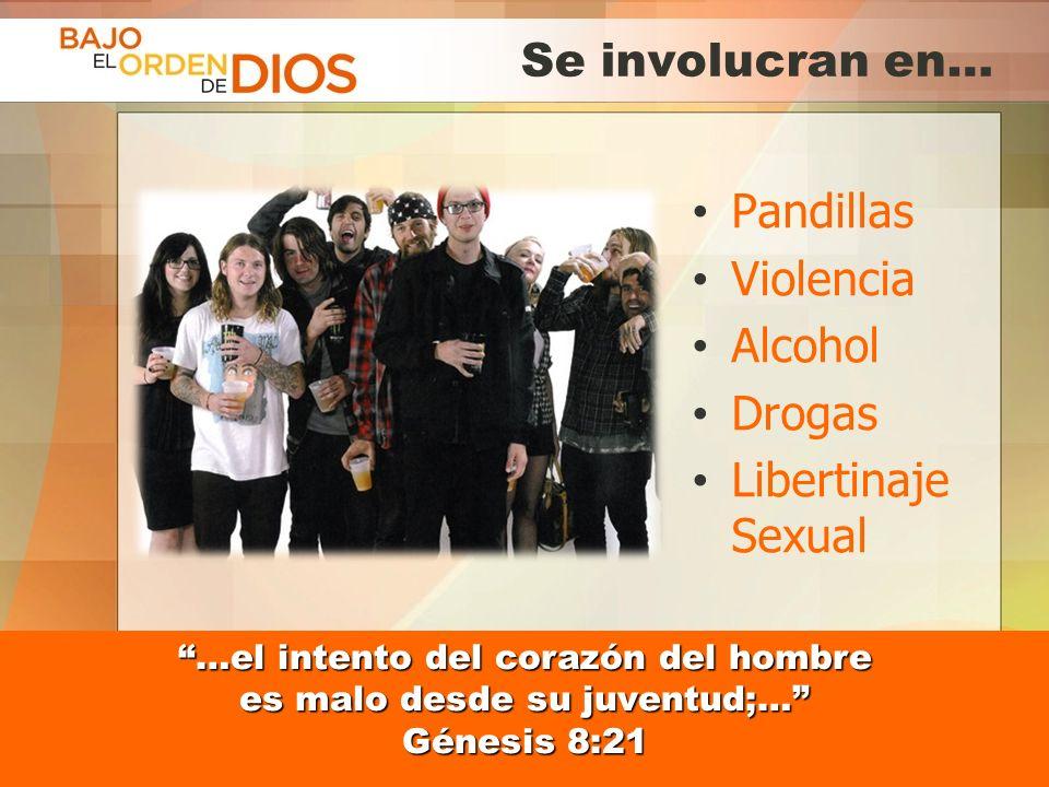 Se involucran en… Pandillas Violencia Alcohol Drogas