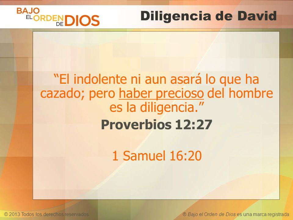 Diligencia de David El indolente ni aun asará lo que ha cazado; pero haber precioso del hombre es la diligencia. Proverbios 12:27 1 Samuel 16:20