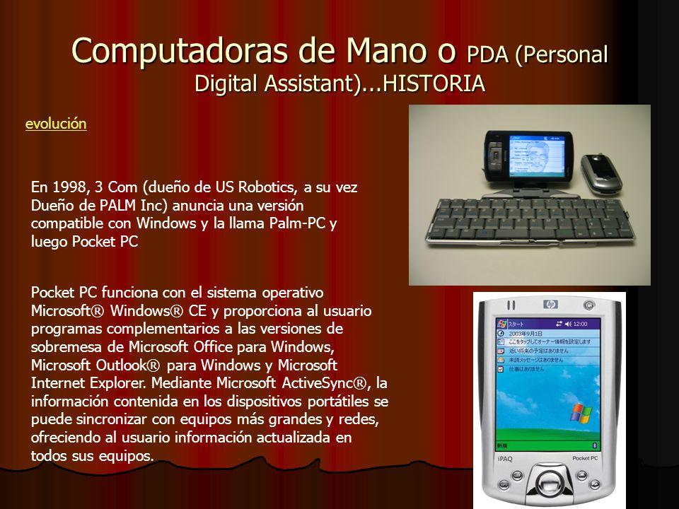 Computadoras de Mano o PDA (Personal Digital Assistant)...HISTORIA