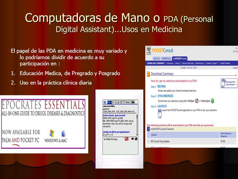 Computadoras de Mano o PDA (Personal Digital Assistant)