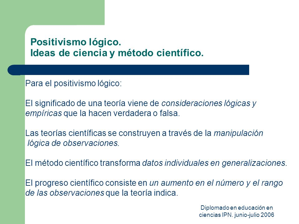 Positivismo lógico. Ideas de ciencia y método científico.