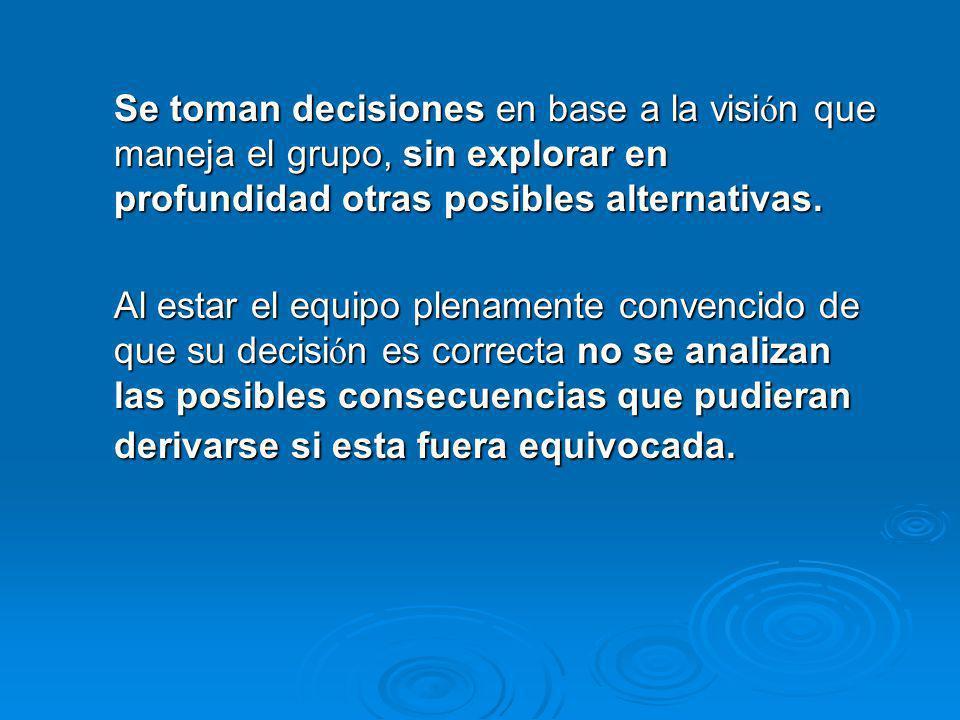 Se toman decisiones en base a la visión que maneja el grupo, sin explorar en profundidad otras posibles alternativas.