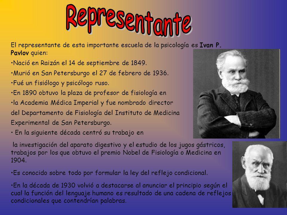 Representante El representante de esta importante escuela de la psicología es Ivan P. Pavlov quien: