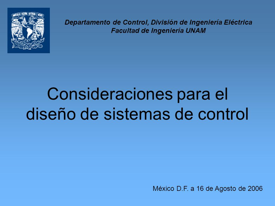 Consideraciones para el diseño de sistemas de control