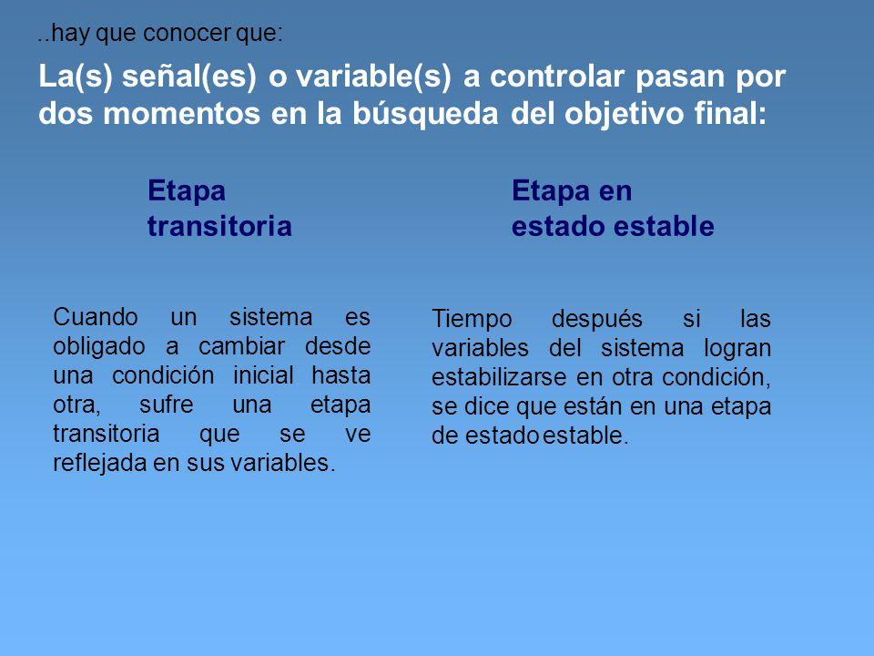..hay que conocer que: La(s) señal(es) o variable(s) a controlar pasan por dos momentos en la búsqueda del objetivo final: