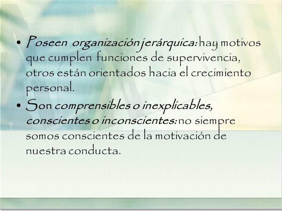 Poseen organización jerárquica: hay motivos que cumplen funciones de supervivencia, otros están orientados hacia el crecimiento personal.