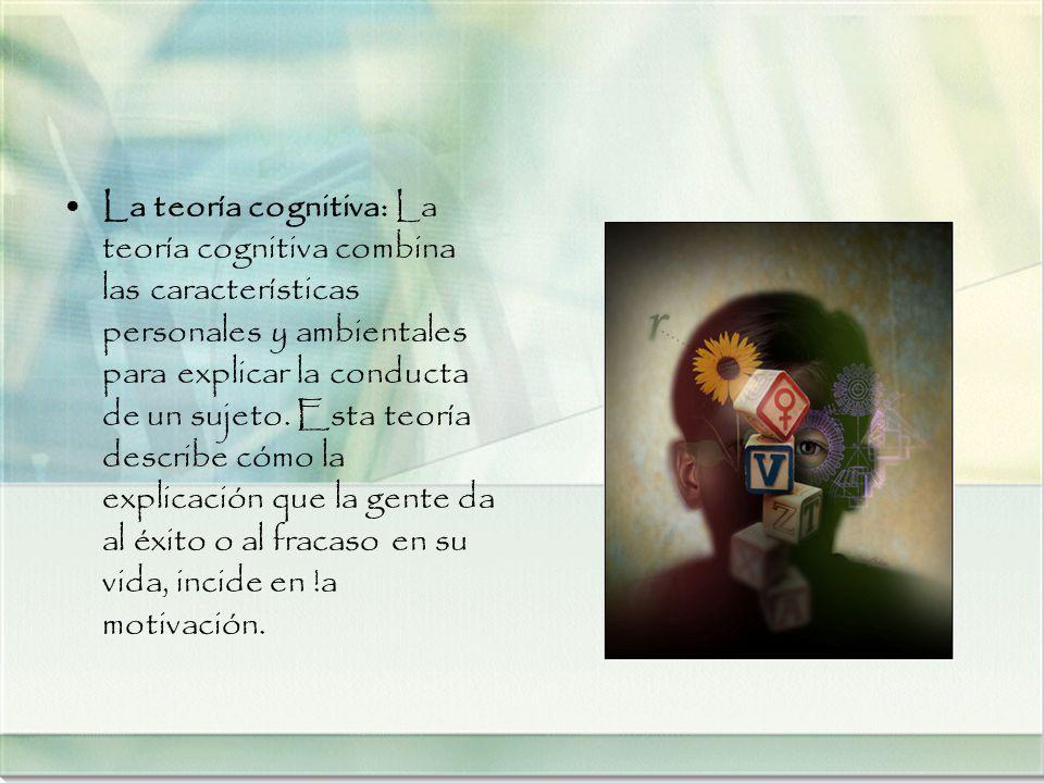 La teoría cognitiva: La teoría cognitiva combina las características personales y ambientales para explicar la conducta de un sujeto.