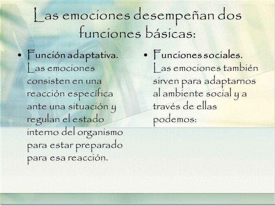 Las emociones desempeñan dos funciones básicas: