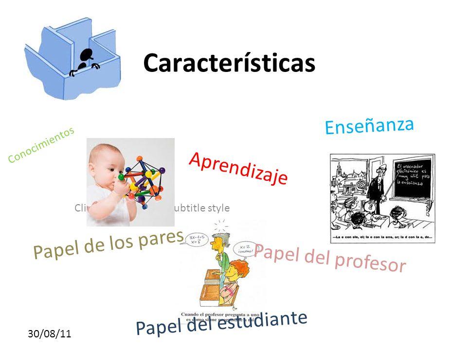Características Enseñanza Aprendizaje Papel de los pares