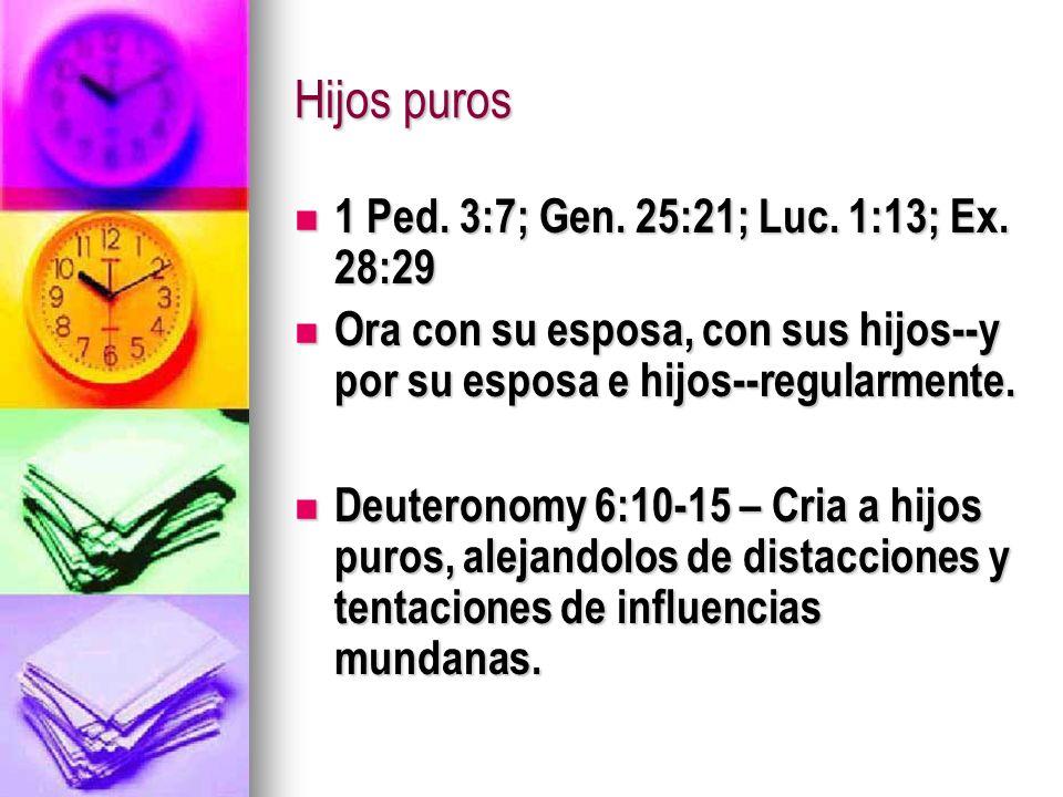 Hijos puros 1 Ped. 3:7; Gen. 25:21; Luc. 1:13; Ex. 28:29