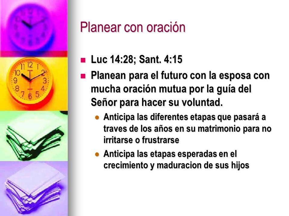 Planear con oración Luc 14:28; Sant. 4:15