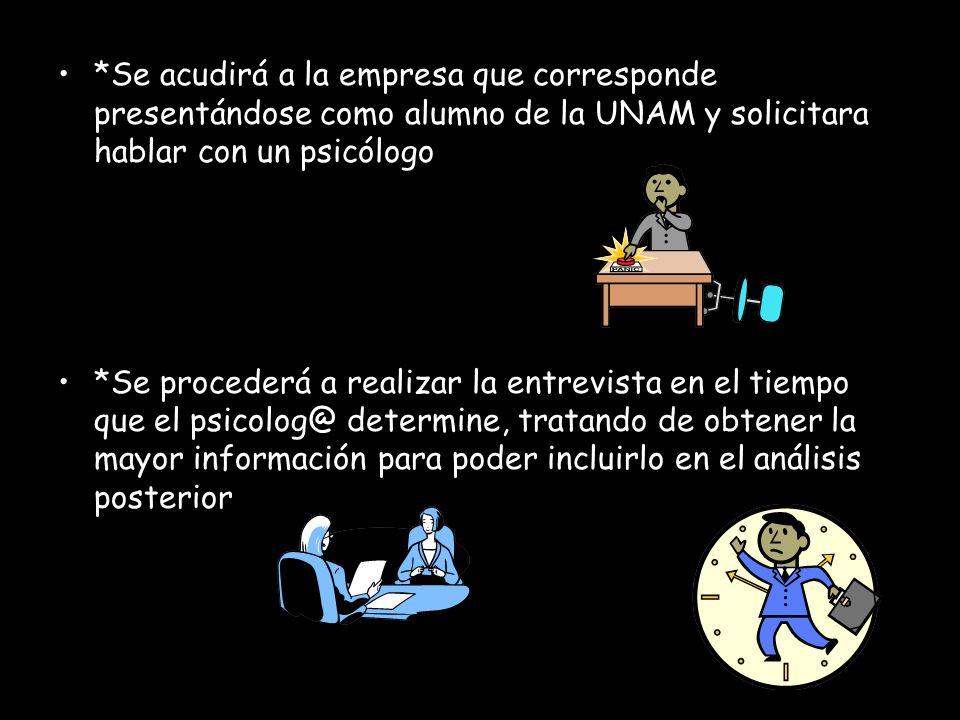 *Se acudirá a la empresa que corresponde presentándose como alumno de la UNAM y solicitara hablar con un psicólogo