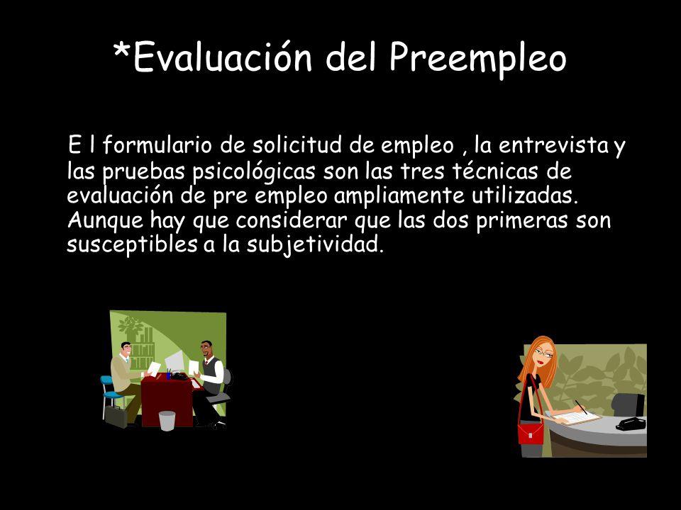 *Evaluación del Preempleo
