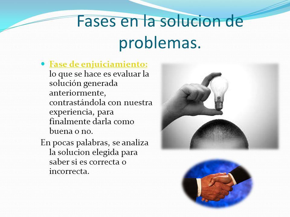 Fases en la solucion de problemas.