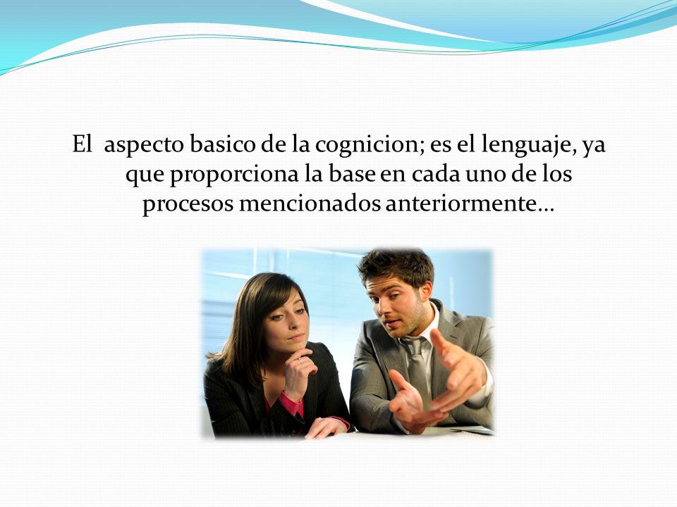 El aspecto basico de la cognicion; es el lenguaje, ya que proporciona la base en cada uno de los procesos mencionados anteriormente…