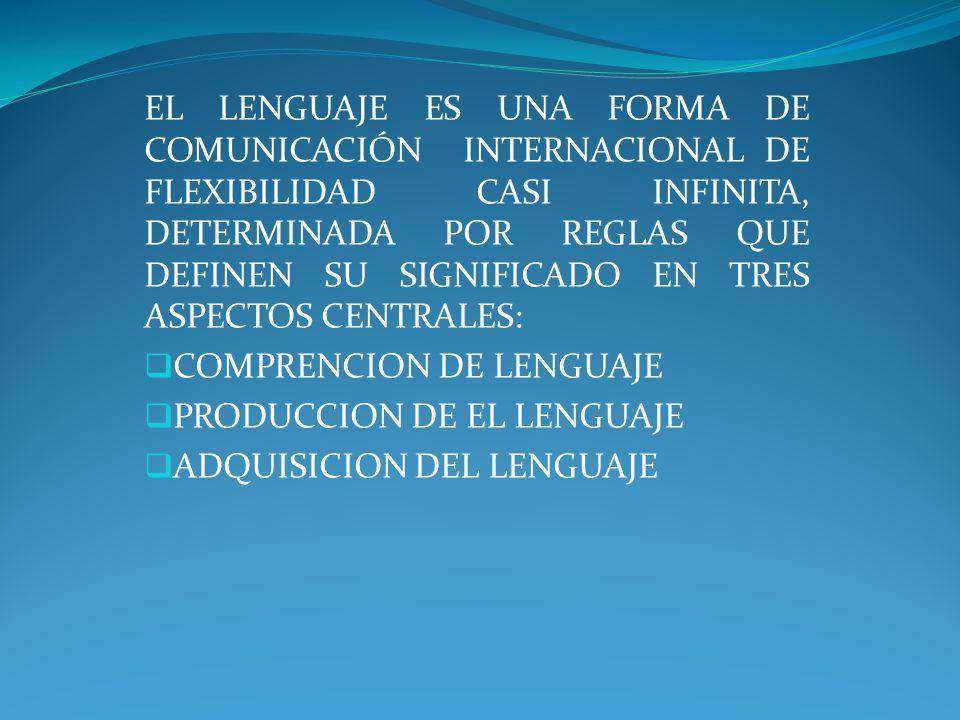EL LENGUAJE ES UNA FORMA DE COMUNICACIÓN INTERNACIONAL DE FLEXIBILIDAD CASI INFINITA, DETERMINADA POR REGLAS QUE DEFINEN SU SIGNIFICADO EN TRES ASPECTOS CENTRALES: