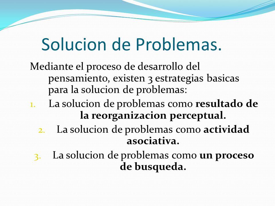 Solucion de Problemas. Mediante el proceso de desarrollo del pensamiento, existen 3 estrategias basicas para la solucion de problemas:
