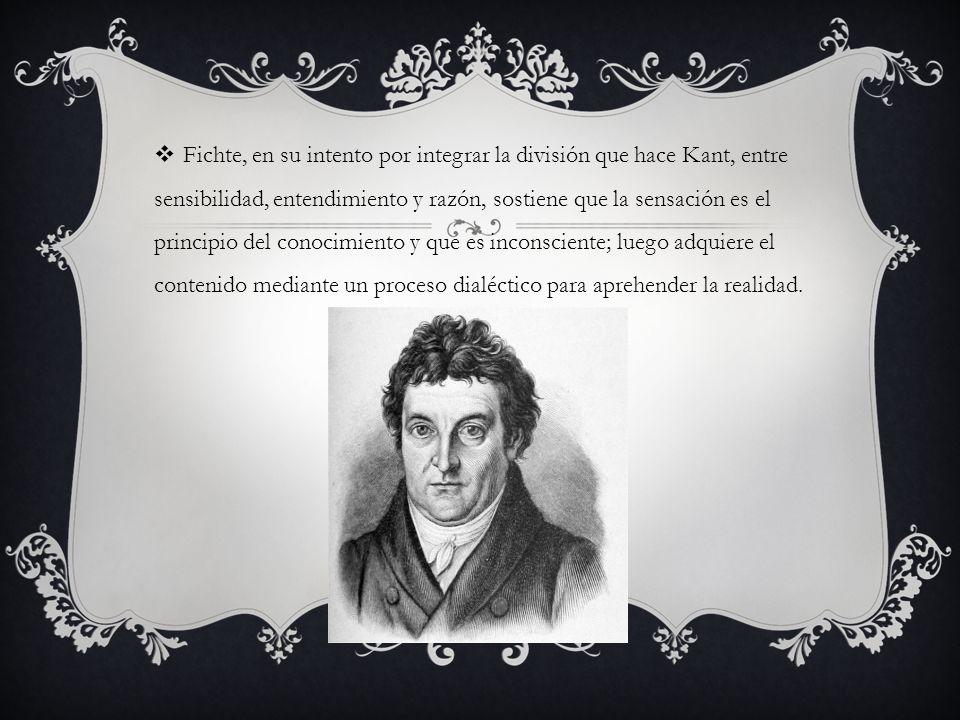 Fichte, en su intento por integrar la división que hace Kant, entre sensibilidad, entendimiento y razón, sostiene que la sensación es el principio del conocimiento y que es inconsciente; luego adquiere el contenido mediante un proceso dialéctico para aprehender la realidad.