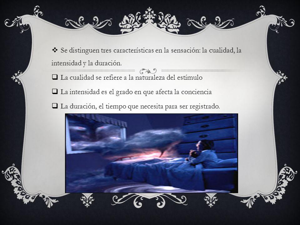 Se distinguen tres características en la sensación: la cualidad, la intensidad y la duración.
