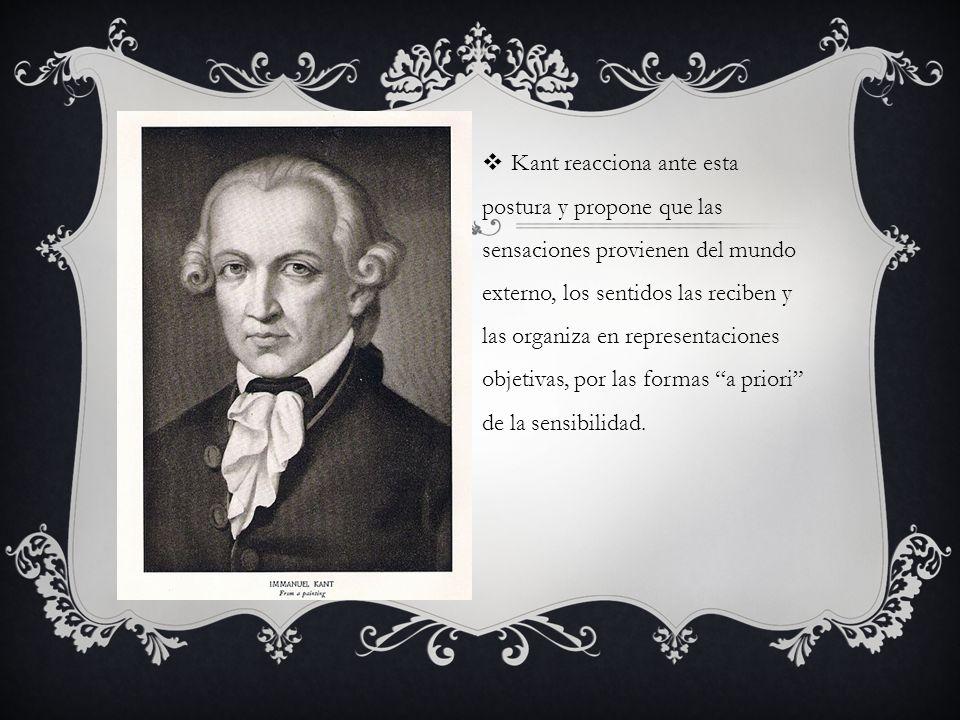 Kant reacciona ante esta postura y propone que las sensaciones provienen del mundo externo, los sentidos las reciben y las organiza en representaciones objetivas, por las formas a priori de la sensibilidad.
