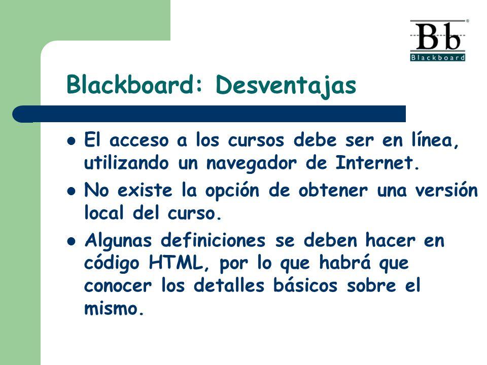 Blackboard: Desventajas