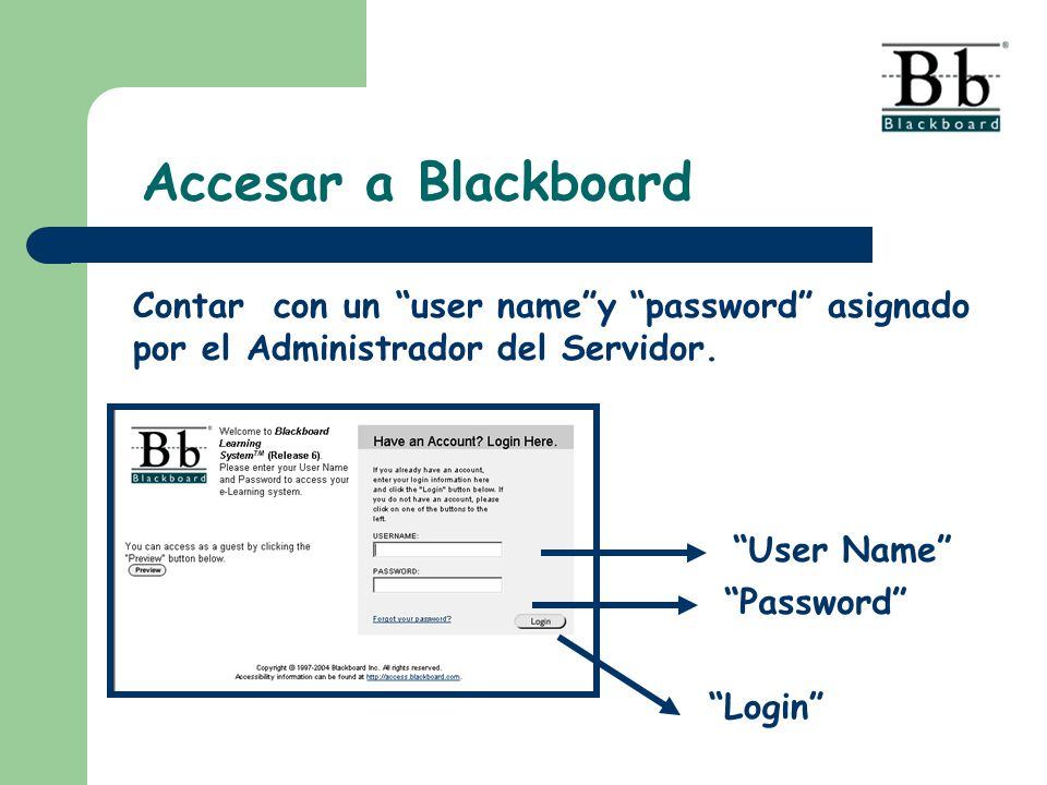Accesar a Blackboard Contar con un user name y password asignado