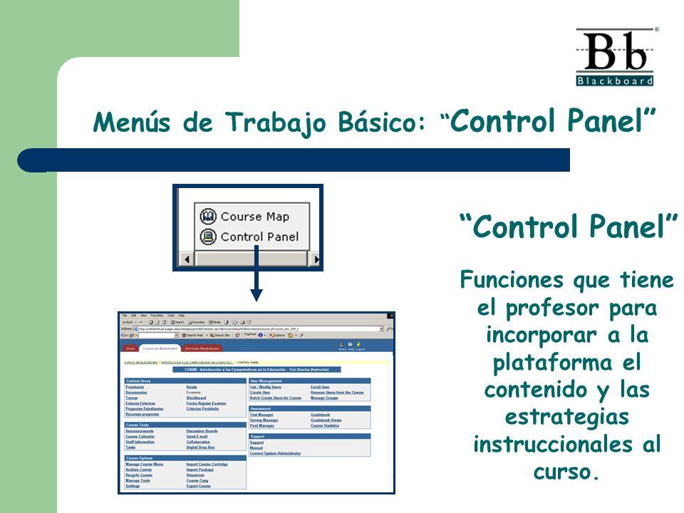 Menús de Trabajo Básico: Control Panel