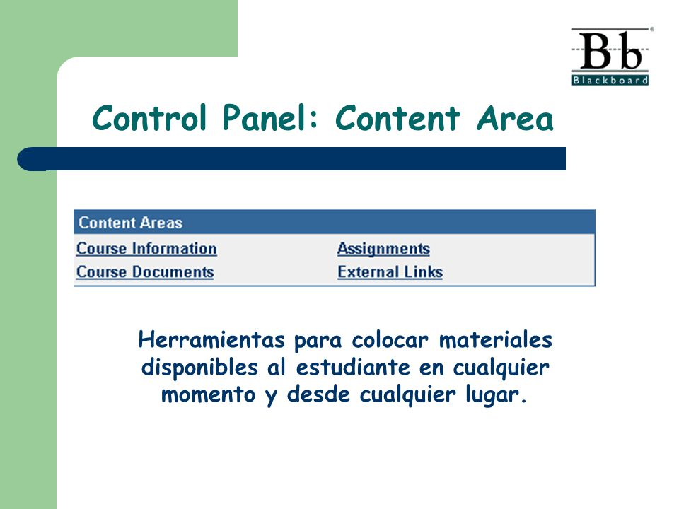 Control Panel: Content Area