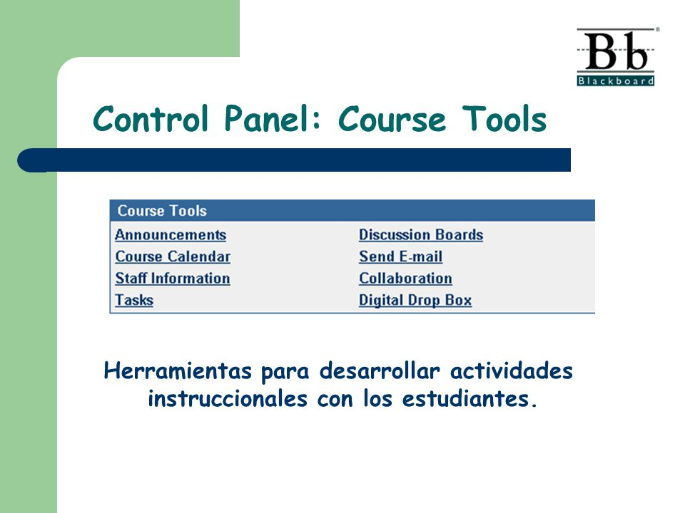 Control Panel: Course Tools