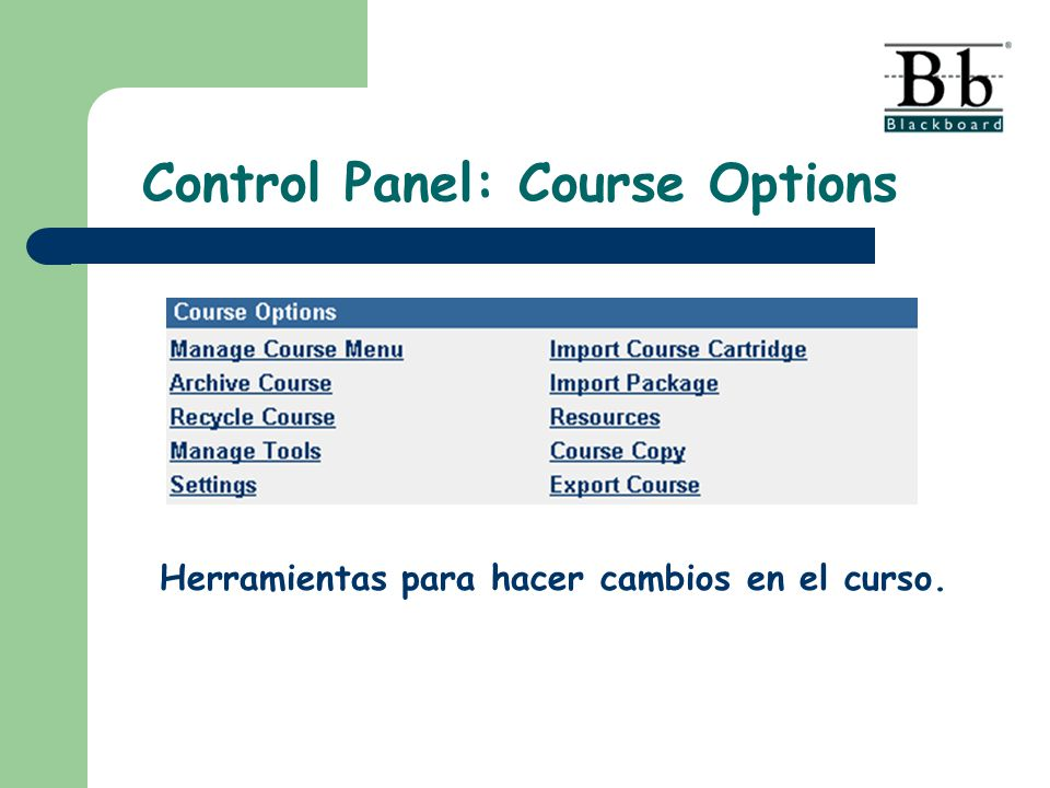 Control Panel: Course Options